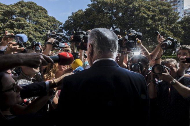 Rafael Blasco ante los medios a la salida del TSJ de Valencia.