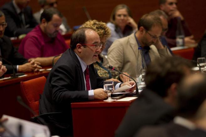 Miquel Iceta, líder del PSC, en una comparecencia.