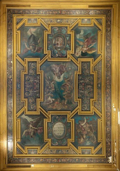 Aspecto del techo pintado en 1601 por Alonso Vázquez para la casa de...