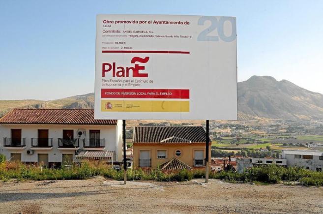 Publicidad del Plan E sobre las obras a ejecutar enLoja, en Granada.