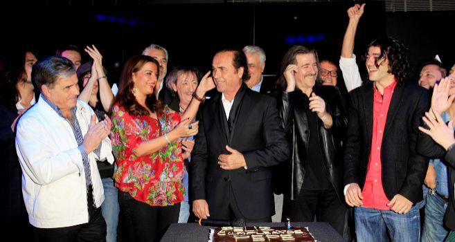 Pepe de Lucía, en el centro de la imagen, en su fiesta de...