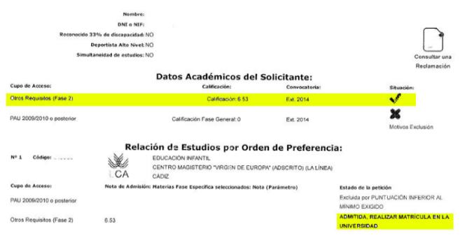 Documento que confirma la admisión de una alumna por el 'cupo...