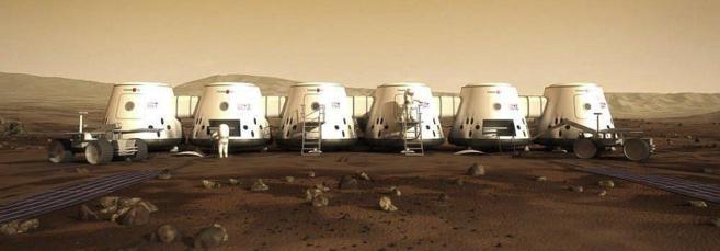 Recreación de los módulos en los que vivirán los astronautas que...