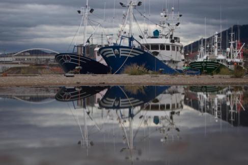 Barcos pesqueros de Bermeo amarrados en el canal de Deusto de...