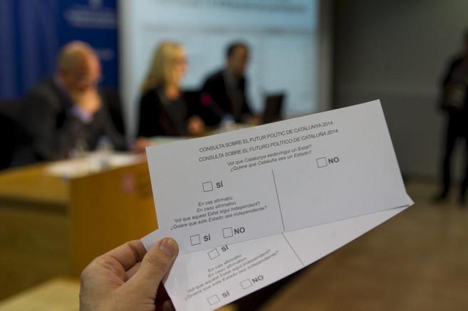 La papeleta fijada por la Generalitat para la consulta del 9-N.