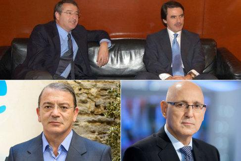 José Antonio Sánchez con Aznar. Abajo, José Ramón Díez y José...