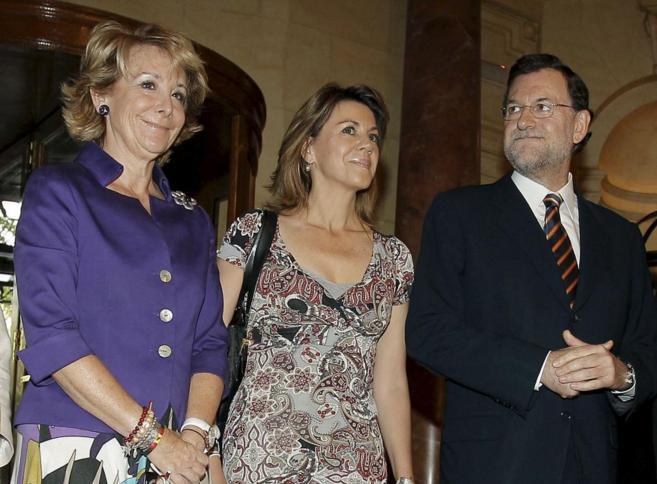 Esperanza Aguirre, María Dolores de Cospedal y Mariano Rajoy.