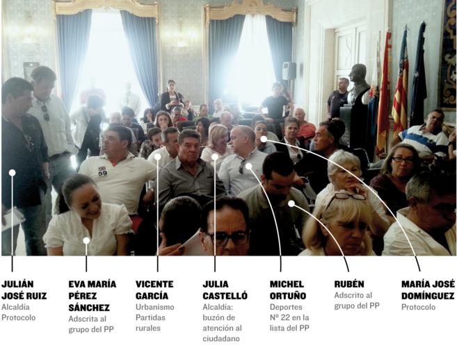 Asesores nombrados por Sonia Castedo en las primeras filas del...