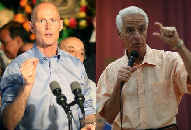 El gobernador republicano Rick Scott y su rival demócrata Charlie...
