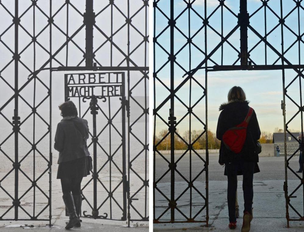 La entrada al campo de concentración de Dachau (Alemania)...