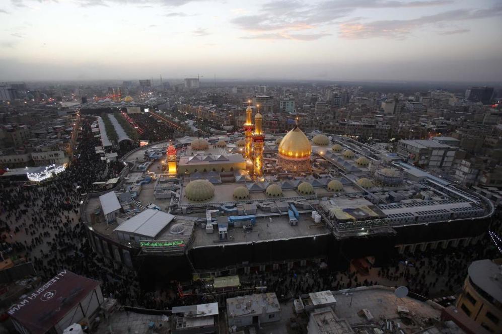 Imagen aérea del templo consagrado al imán Huseein y al imán Abbas...