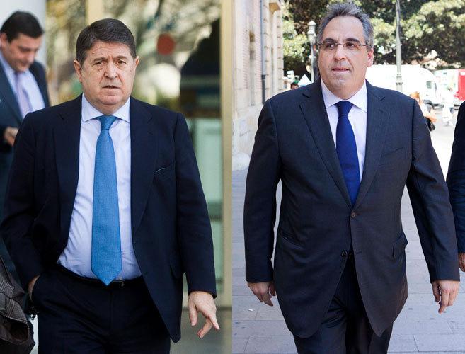 El ex presidente de la Generalitat, José Luis Olivas, y el...