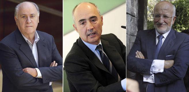 Amancio Ortega, Rafael del Pino y Juan Roig.