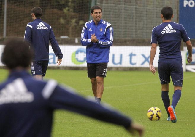 El entrenador de la Real, Asier Santana.