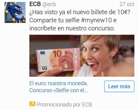 'Tuit' del BCE promocionando el concurso de 'selfies'.