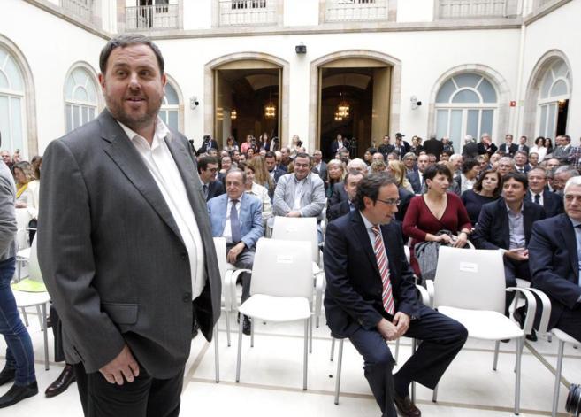 Oriol Junqueras, en el acto de firma de la denuncia internacional al...