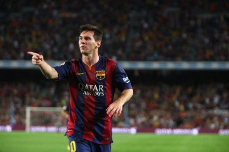 Leo Messi, durante un partido, con la camiseta del Barça