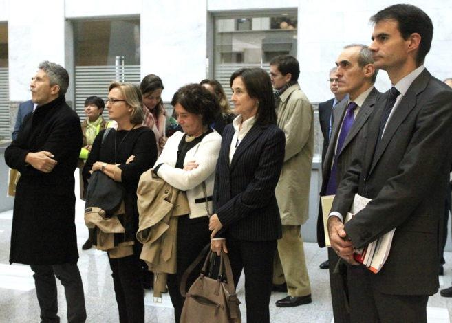 Los jueces Grande-Marlaska y Pablo Ruz, junto a otros magistrados en...