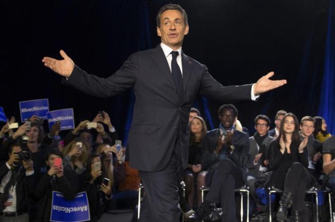 El ex presidente francés, durante su intervención en el acto...