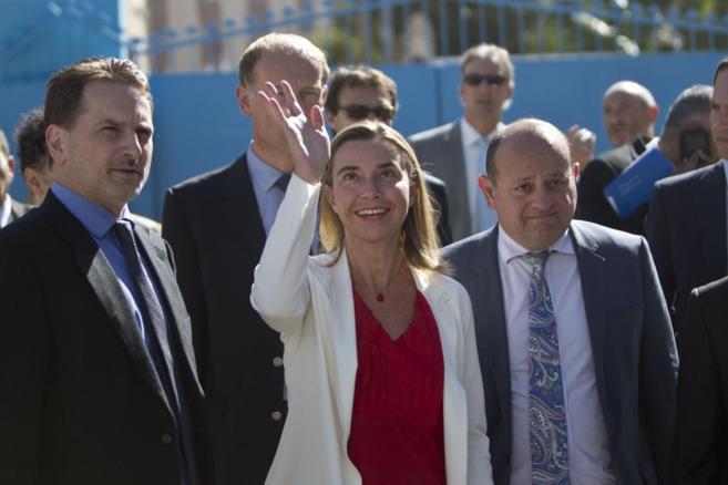Mogherini en Gaza, este sábado.