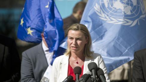 Federica Mogherini, en Gaza, este sábado.