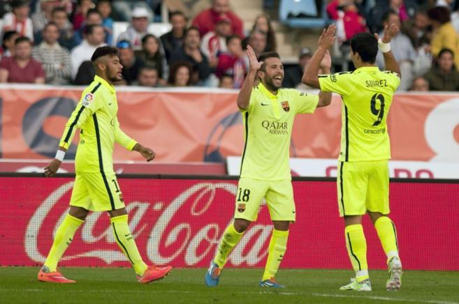 Jordi Alba agracede el fantástico centro de Luis Suárez en el...