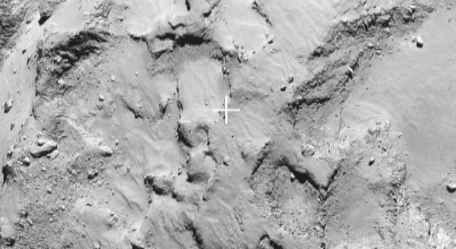 La cruz marca el lugar elegido para el aterrizaje en el cometa...