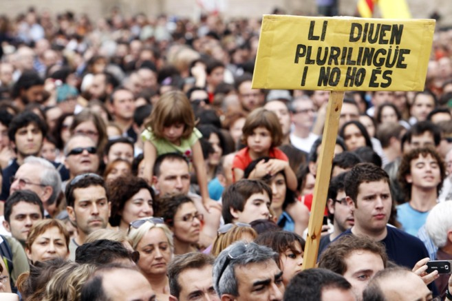 Protesta organizada por Escola Valenciana en 2011, contra la primera...