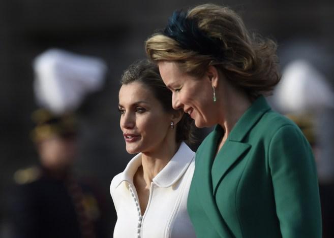Matilde de Bélgica y la Reina Letizia, esta mañana.