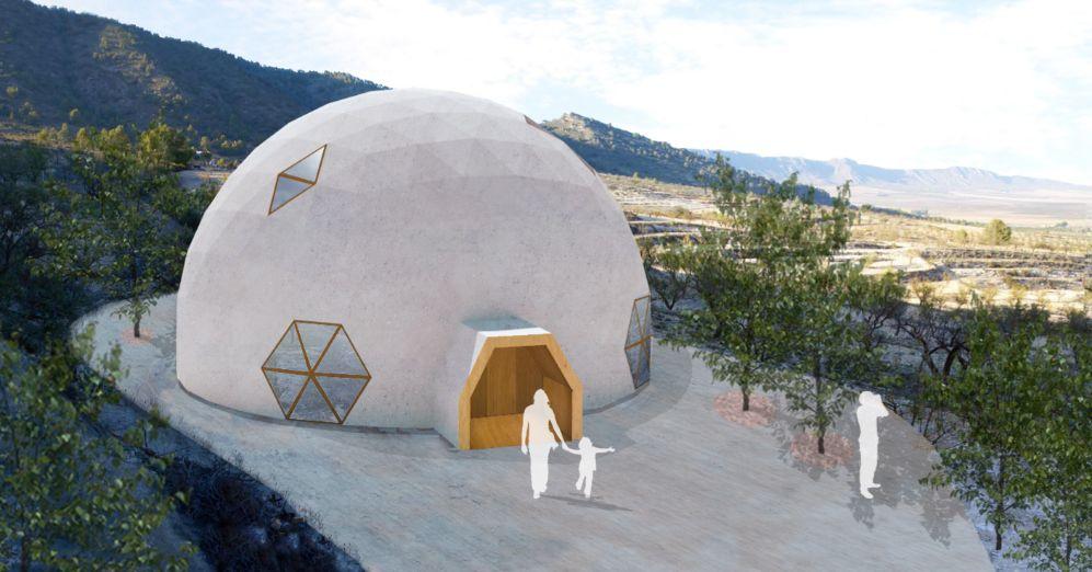 Recreación de la cúpula geodésica en su estado final.