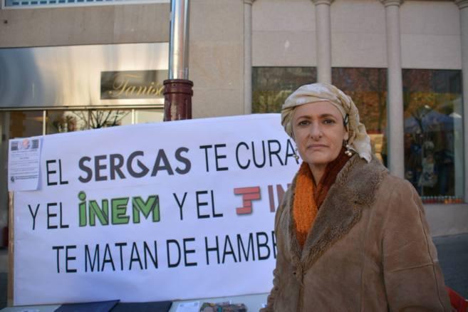 Beatriz Figueroa durante una de sus acciones de protesta.