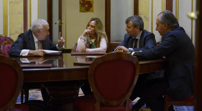 Margallo, con los diputados Trinidad Jiménez (PSOE), Jordi Xuclà...
