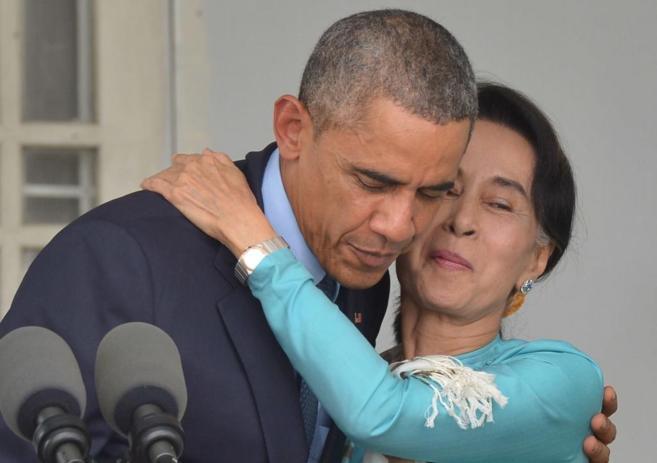 Barack Obama y Aung San Suu Kyi durante su comparecencia este viernes...