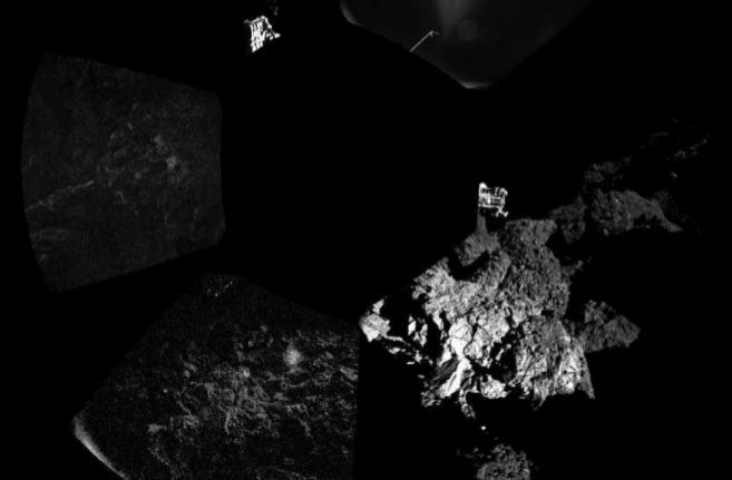 Primera fotografía del módulo Philae sobre la superficie del cometa.