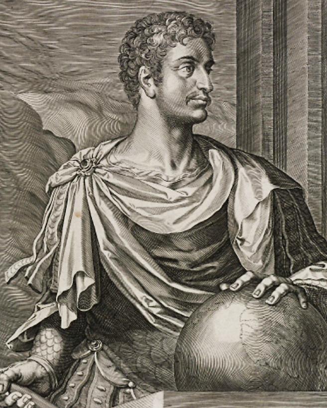 Lámina con el retrato de Augusto