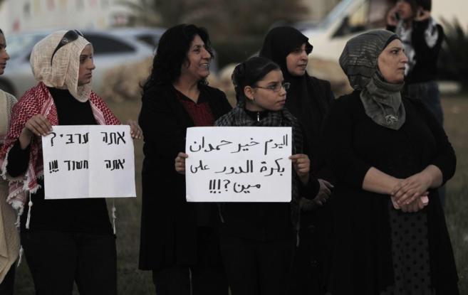 Mujeres árabes-israelíes durante una protesta por la muerte de...