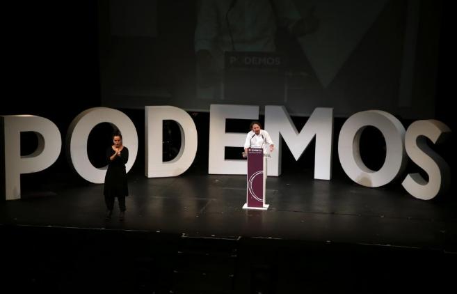 Pablo Iglesias, durante su discurso de este sábado en Madrid.