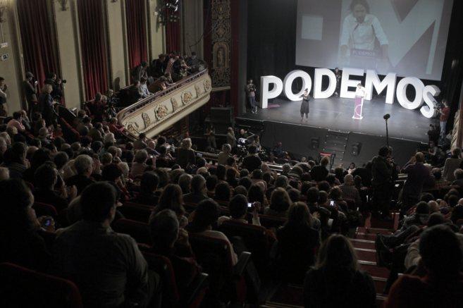 Acto de Podemos en el que Pablo Iglesias fue encumbrado este sábado...