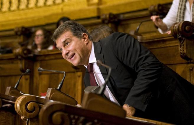 Joan Laporta en un Pleno del Ayuntamiento de Barcelona