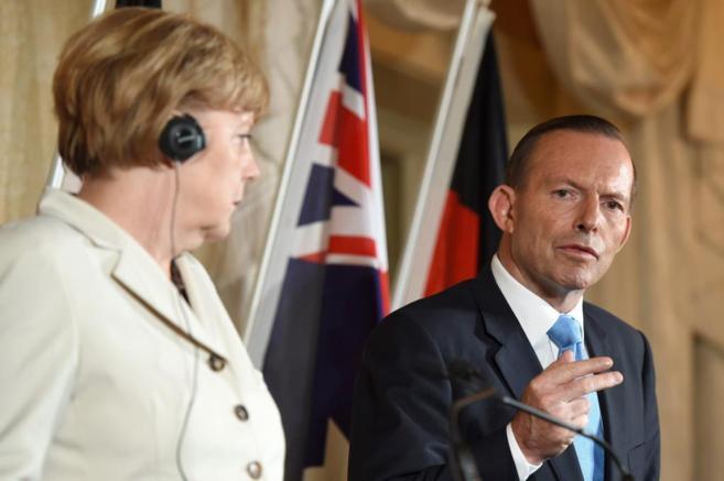 Angela Merkel y el primer ministro australiano, Tony Abbot, en la...