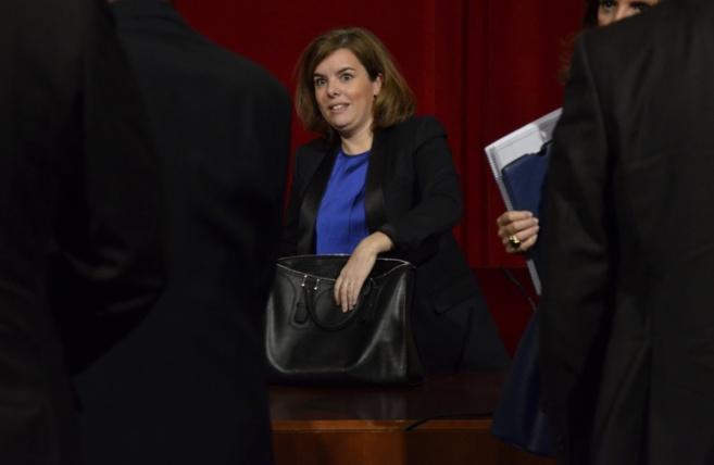 La vicepresidenta del Gobierno, Soraya Sáenz de Santamaría, en el...