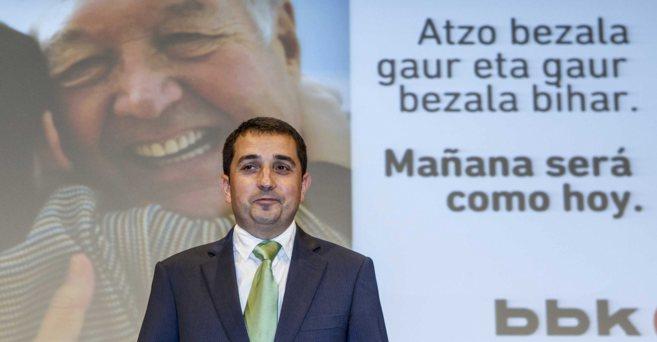 El presidente de BBK, Xabier Sagredo, en la asamblea de la entidad.