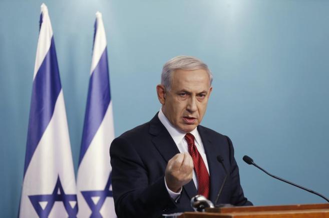 El primer ministro israelí, Benjamin Netanyahu, durante una rueda de...
