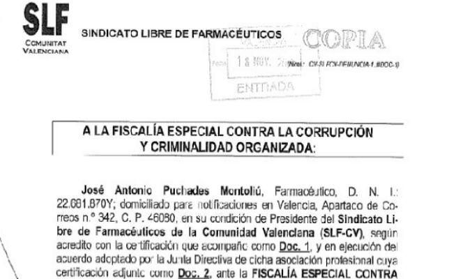 Copia de la denuncia presentada en Fiscalía por el SLF-CV.