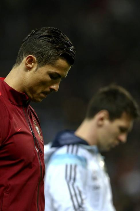 Cristiano y Messi, poco antes del inicio del partido.