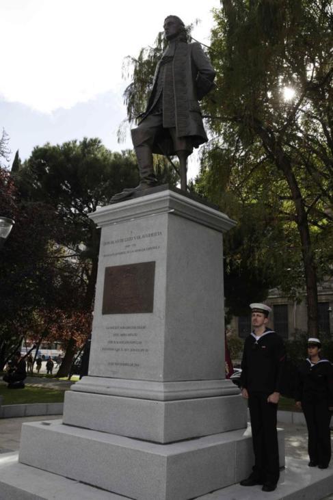 La estatua homenaje a Blas de Lezo inaugurada el sábado en Madrid.