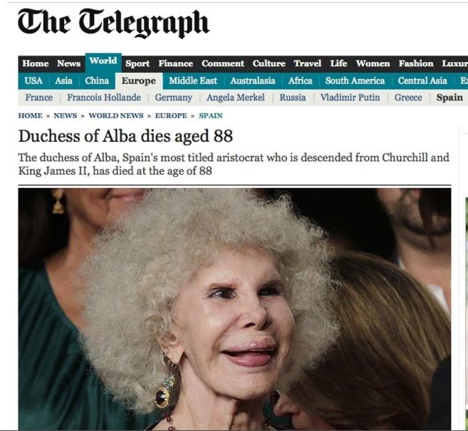 Portada del 'Daily Telegraph' en internet durante el día de...