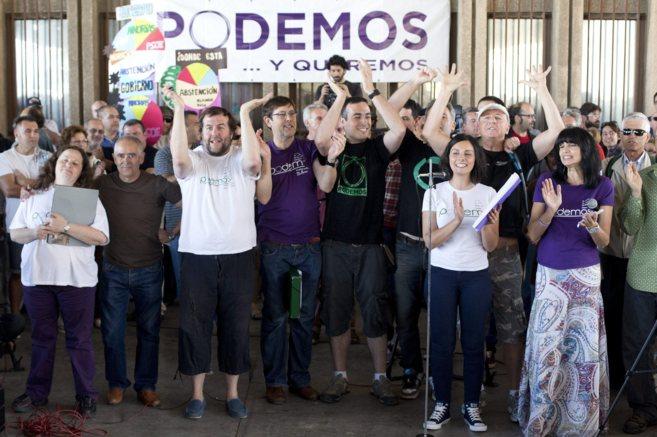 Una de las asambleas de Podemos que se celebró en la ciudad de...