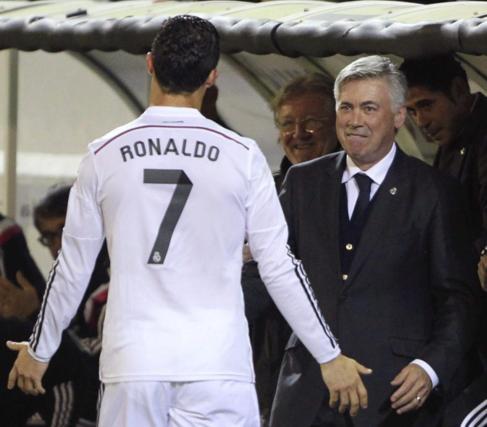 Ancelotti, tras el segundo gol de Cristiano.