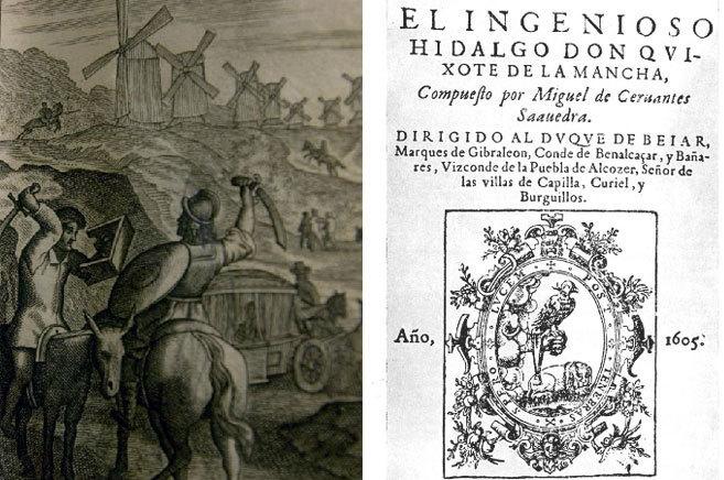 Ilustración de El Quijote impreso en 1662 por Juan Mommarte y portada...